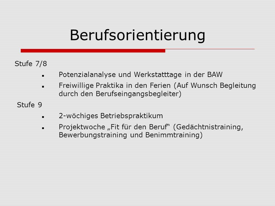 Berufsorientierung Stufe 7/8 Potenzialanalyse und Werkstatttage in der BAW Freiwillige Praktika in den Ferien (Auf Wunsch Begleitung durch den Berufse