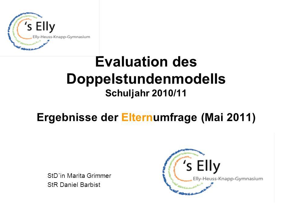 Evaluation des Doppelstundenmodells Schuljahr 2010/11 Ergebnisse der Elternumfrage (Mai 2011) StD´in Marita Grimmer StR Daniel Barbist