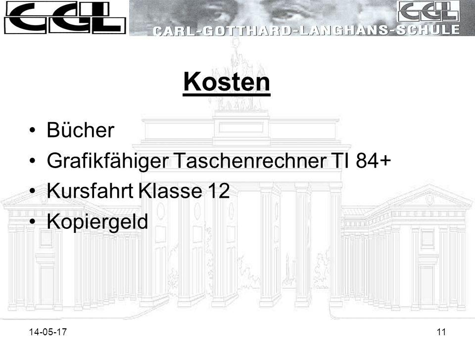 14-05-1711 Kosten Bücher Grafikfähiger Taschenrechner TI 84+ Kursfahrt Klasse 12 Kopiergeld