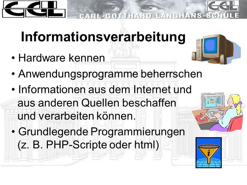 Informationsverarbeitung Hardware kennen Anwendungsprogramme beherrschen Informationen aus dem Internet und aus anderen Quellen beschaffen und verarbe