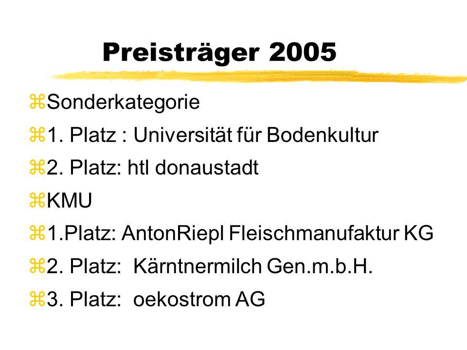 Preisträger 2005 zSonderkategorie z1. Platz : Universität für Bodenkultur z2.