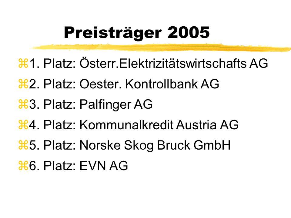 Preisträger 2005 z1. Platz: Österr.Elektrizitätswirtschafts AG z2.