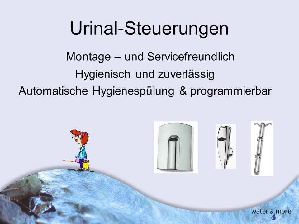 19 Urinal-Steuerungen Montage – und Servicefreundlich Hygienisch und zuverlässig Automatische Hygienespülung & programmierbar