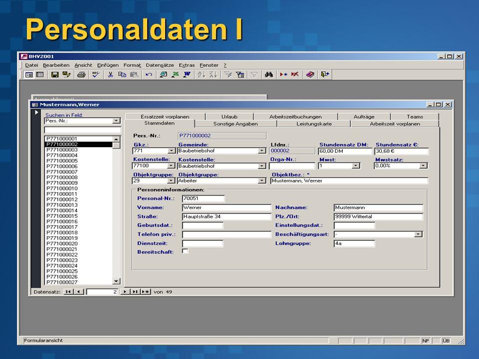 Personaldaten I