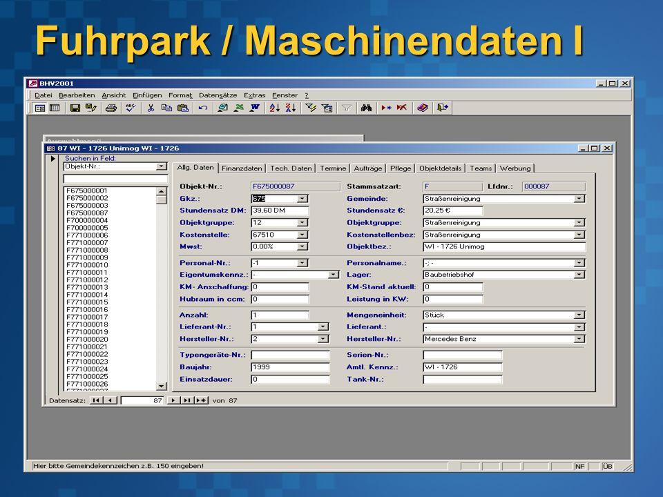 Fuhrpark / Maschinendaten I