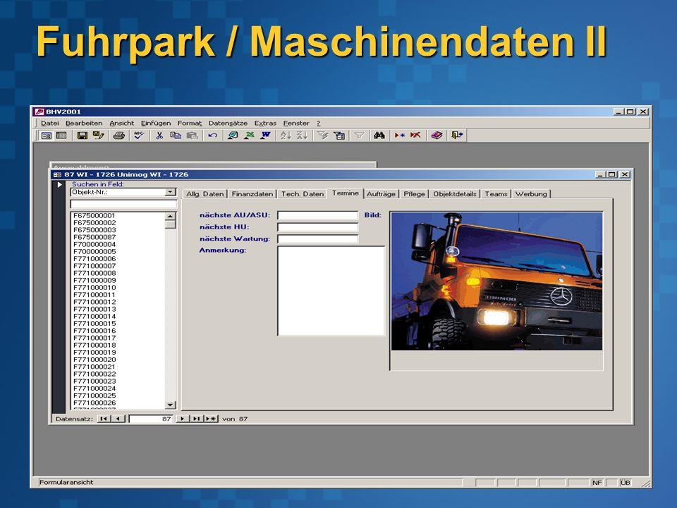 Fuhrpark / Maschinendaten II