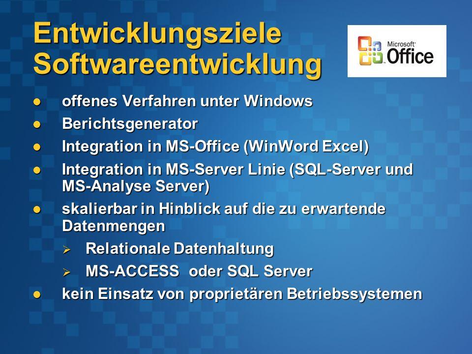 Entwicklungsziele Softwareentwicklung offenes Verfahren unter Windows offenes Verfahren unter Windows Berichtsgenerator Berichtsgenerator Integration in MS-Office (WinWord Excel) Integration in MS-Office (WinWord Excel) Integration in MS-Server Linie (SQL-Server und MS-Analyse Server) Integration in MS-Server Linie (SQL-Server und MS-Analyse Server) skalierbar in Hinblick auf die zu erwartende Datenmengen skalierbar in Hinblick auf die zu erwartende Datenmengen Relationale Datenhaltung Relationale Datenhaltung MS-ACCESS oder SQL Server MS-ACCESS oder SQL Server kein Einsatz von proprietären Betriebssystemen kein Einsatz von proprietären Betriebssystemen