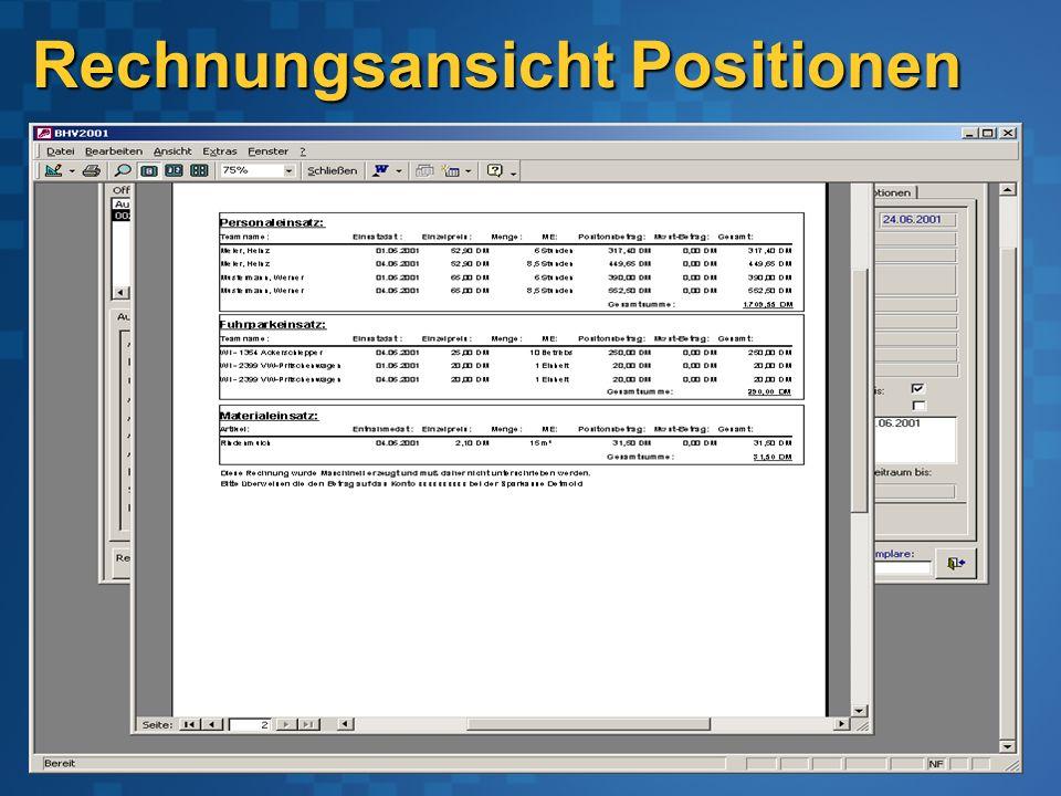 Rechnungsansicht Positionen