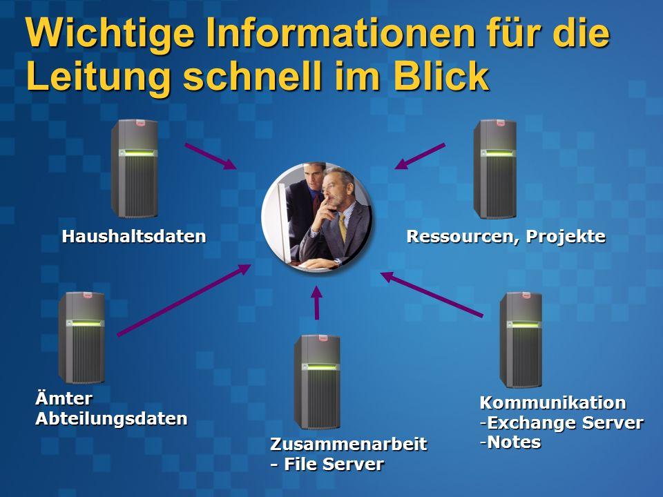 Wichtige Informationen für die Leitung schnell im Blick Ämter Abteilungsdaten Haushaltsdaten Kommunikation -Exchange Server -Notes Zusammenarbeit - File Server Ressourcen, Projekte