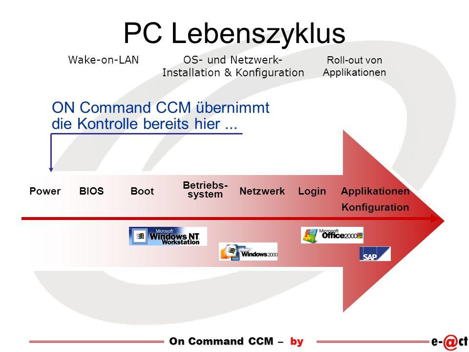 PC Lebenszyklus Roll-out von Applikationen Wake-on-LANOS- und Netzwerk- Installation & Konfiguration ON Command CCM übernimmt die Kontrolle bereits hi