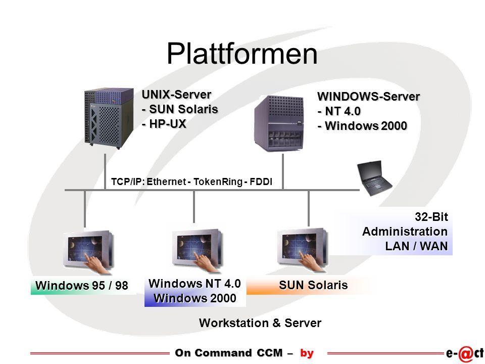 Plattformen TCP/IP: Ethernet - TokenRing - FDDI UNIX-Server - SUN Solaris - HP-UX 32-Bit Administration LAN / WAN Windows 95 / 98 Windows NT 4.0 Windows 2000 WINDOWS-Server - NT 4.0 - Windows 2000 Workstation & Server SUN Solaris On Command CCM – by