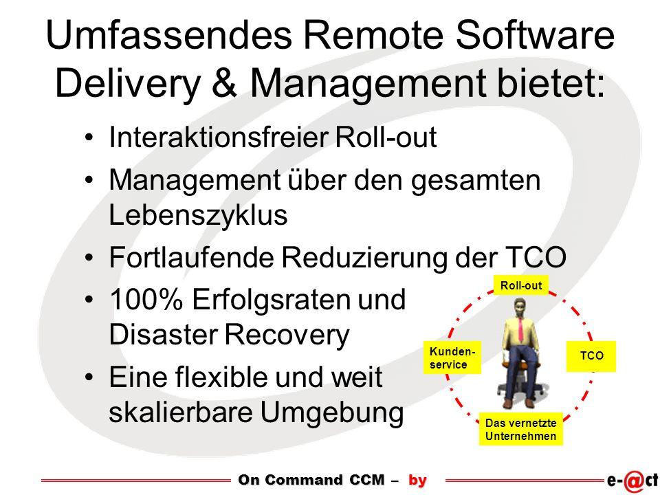 On Command CCM – by Umfassendes Remote Software Delivery & Management bietet: Interaktionsfreier Roll-out Management über den gesamten Lebenszyklus Fortlaufende Reduzierung der TCO 100% Erfolgsraten und Disaster Recovery Eine flexible und weit skalierbare Umgebung Roll-out Kunden- service Das vernetzte Unternehmen TCO