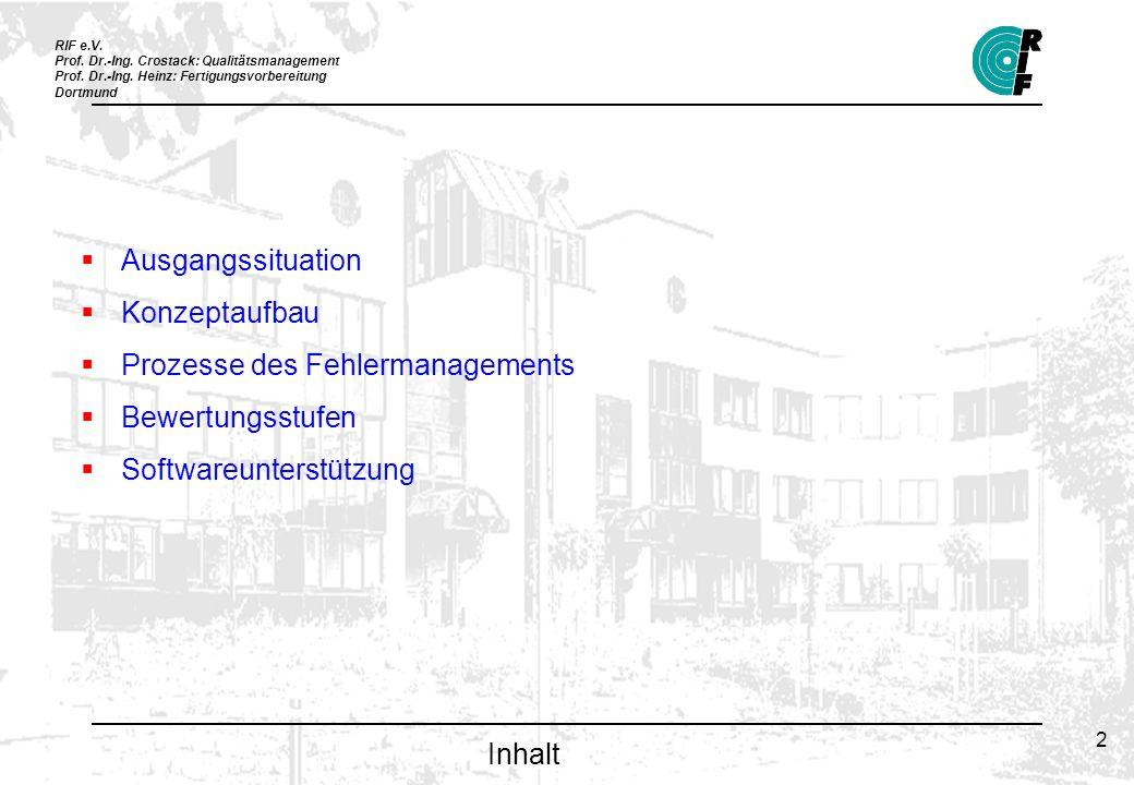 RIF e.V. Prof. Dr.-Ing. Crostack: Qualitätsmanagement Prof. Dr.-Ing. Heinz: Fertigungsvorbereitung Dortmund 2 Inhalt Ausgangssituation Konzeptaufbau P