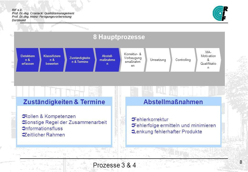 RIF e.V. Prof. Dr.-Ing. Crostack: Qualitätsmanagement Prof. Dr.-Ing. Heinz: Fertigungsvorbereitung Dortmund 8 Prozesse 3 & 4 8 Hauptprozesse Detektier