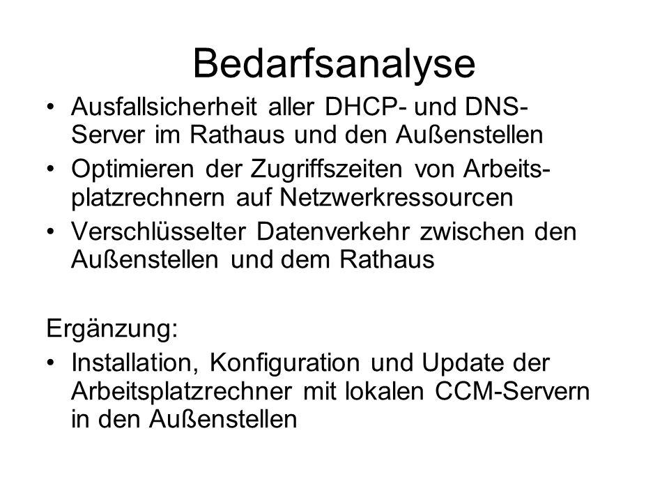 Bedarfsanalyse Ausfallsicherheit aller DHCP- und DNS- Server im Rathaus und den Außenstellen Optimieren der Zugriffszeiten von Arbeits- platzrechnern