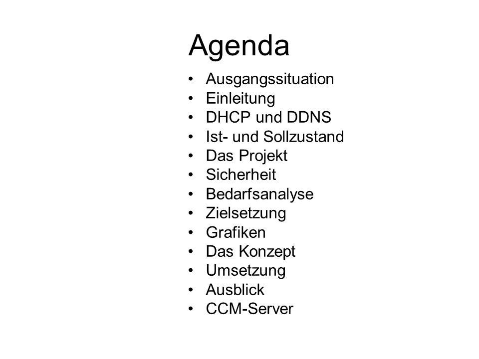 Das Konzept Ausgangssituation DNS- und DHCP-Server sind im Fehlerfall nicht mehr verfügbar Es sind ausreichende Leitungskapazitäten im Rathaus und den Außenstellen vorhanden zum Einsatz der Dienste DHCP und DDNS Zielstellung Bereitstellen der Hard- und Software für die Linux-Server mit den DHCP und DDNS Diensten Aufbau einer Testumgebung im Rathaus mit den vorhandenen Betriebssystemen Umsetzung Priorität Optimierung der Zugriffszeiten von Arbeitsplatzrechnern auf die Ressourcen der IT-Infrastruktur Redundante Systeme im Bereich DHCP und DDNS Verschlüsseln der Daten Installation und Konfiguration mit einer Fall-Back-Strategie