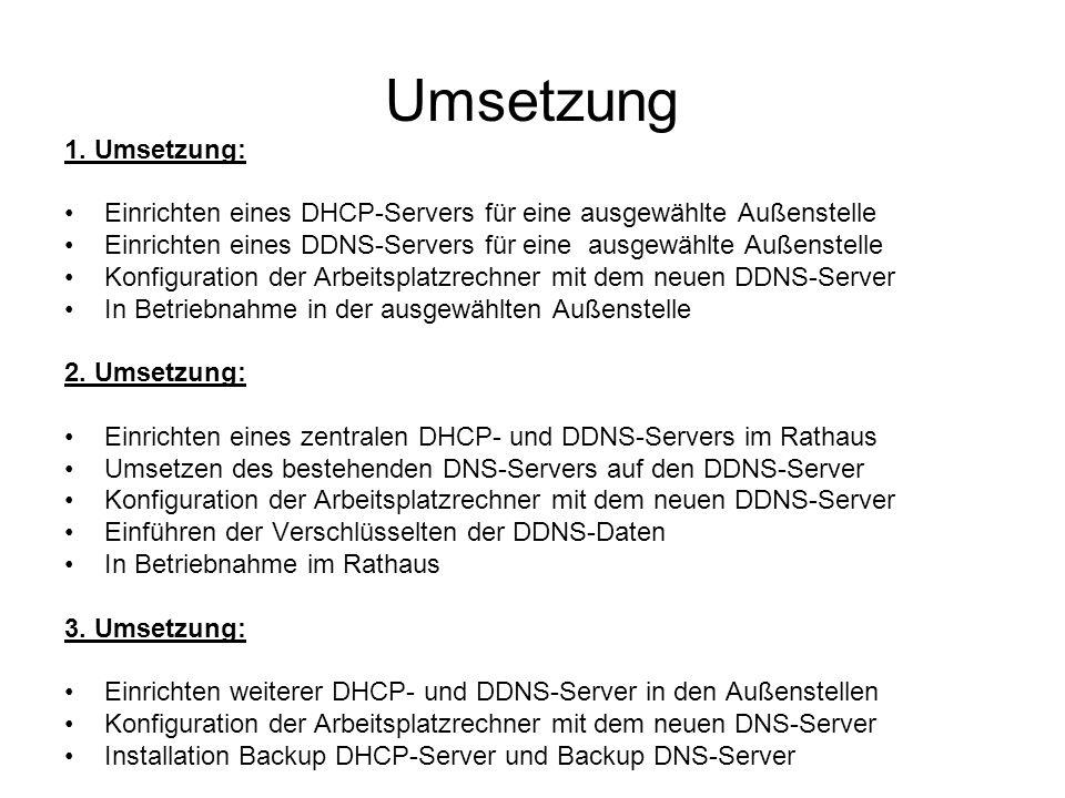 Umsetzung 1. Umsetzung: Einrichten eines DHCP-Servers für eine ausgewählte Außenstelle Einrichten eines DDNS-Servers für eine ausgewählte Außenstelle