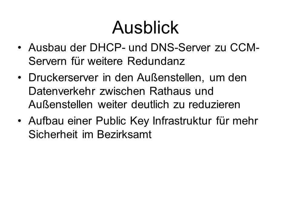 Ausblick Ausbau der DHCP- und DNS-Server zu CCM- Servern für weitere Redundanz Druckerserver in den Außenstellen, um den Datenverkehr zwischen Rathaus