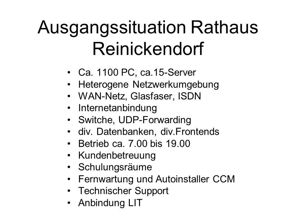 Ausgangssituation Rathaus Reinickendorf Ca. 1100 PC, ca.15-Server Heterogene Netzwerkumgebung WAN-Netz, Glasfaser, ISDN Internetanbindung Switche, UDP