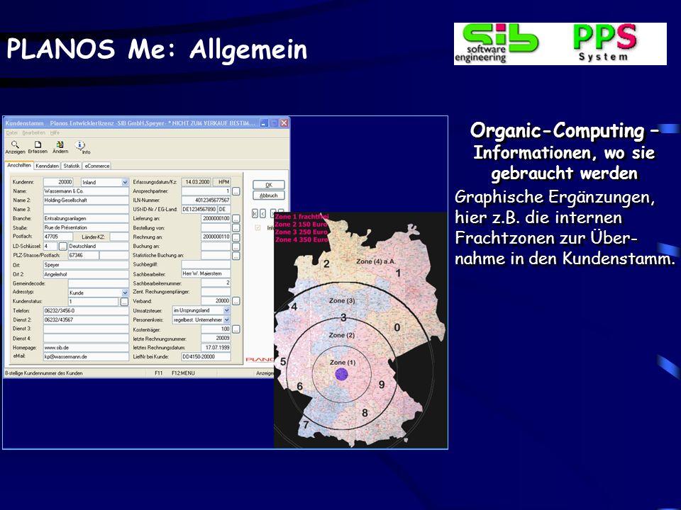 PLANOS Me: Allgemein Organic-Computing – Informationen, wo sie gebraucht werden Graphische Ergänzungen, hier z.B. die internen Frachtzonen zur Über- n