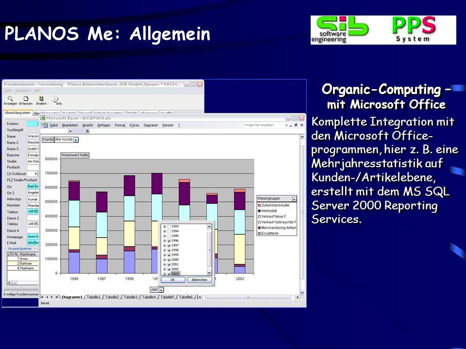 PLANOS Me: Allgemein Organic-Computing – mit Microsoft Office Komplette Integration mit den Microsoft Office- programmen, hier z. B. eine Mehrjahresst