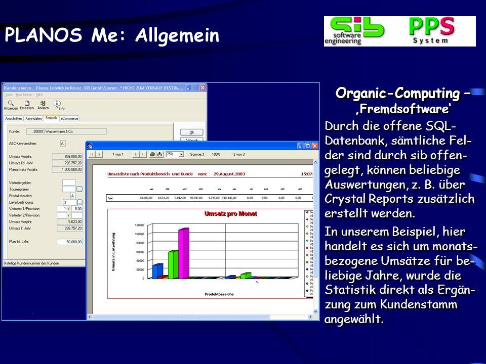 PLANOS Me: Allgemein Organic-Computing – Fremdsoftware Durch die offene SQL- Datenbank, sämtliche Fel- der sind durch sib offen- gelegt, können belieb