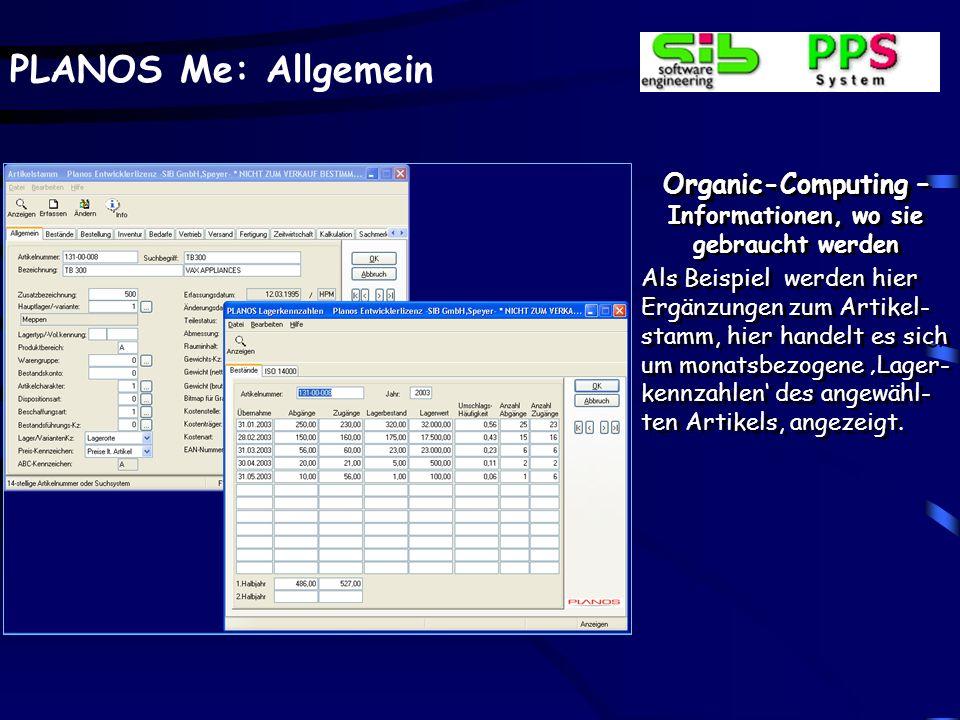 PLANOS Me: Allgemein Organic-Computing – Informationen, wo sie gebraucht werden Als Beispiel werden hier Ergänzungen zum Artikel- stamm, hier handelt