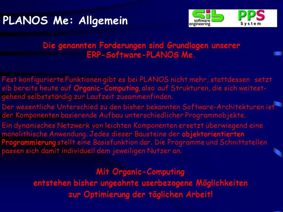 PLANOS Me: Allgemein Die genannten Forderungen sind Grundlagen unserer ERP-Software-PLANOS Me. Fest konfigurierte Funktionen gibt es bei PLANOS nicht