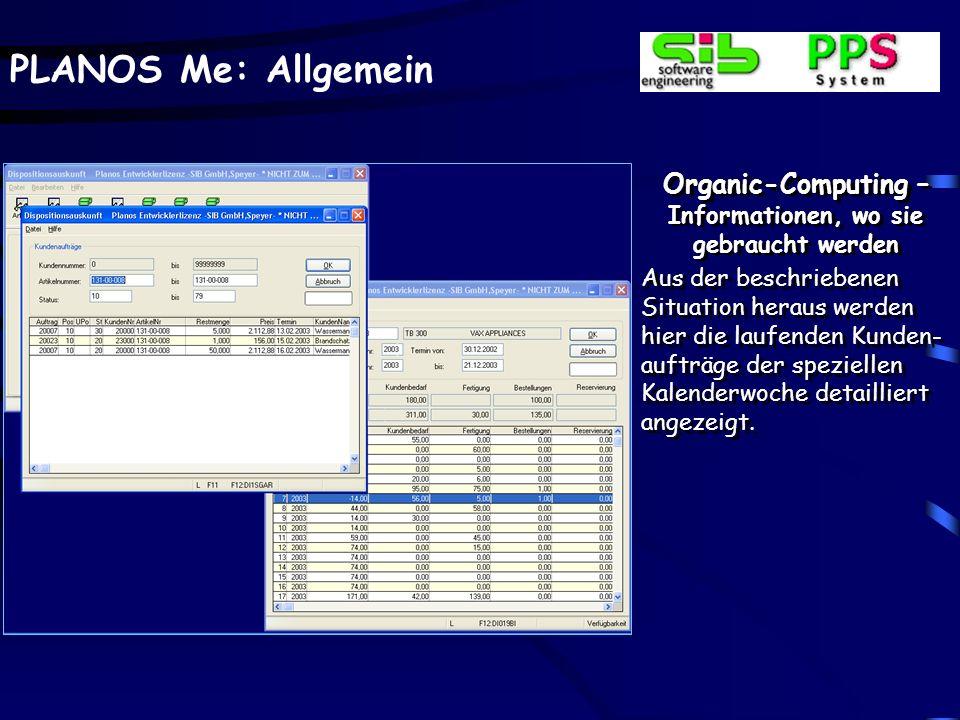 PLANOS Me: Allgemein Organic-Computing – Informationen, wo sie gebraucht werden Aus der beschriebenen Situation heraus werden hier die laufenden Kunde
