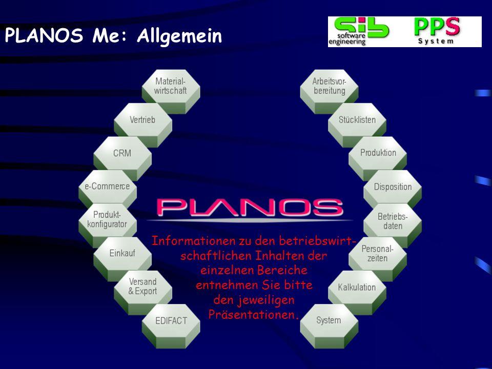 PLANOS Me: Allgemein Informationen zu den betriebswirt- schaftlichen Inhalten der einzelnen Bereiche entnehmen Sie bitte den jeweiligen Präsentationen
