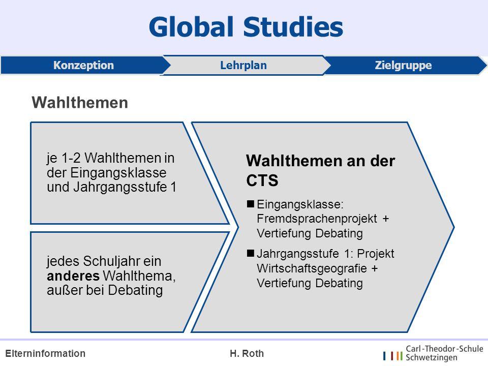 Global Studies ZielgruppeLehrplan Konzeption je 1-2 Wahlthemen in der Eingangsklasse und Jahrgangsstufe 1 jedes Schuljahr ein anderes Wahlthema, außer