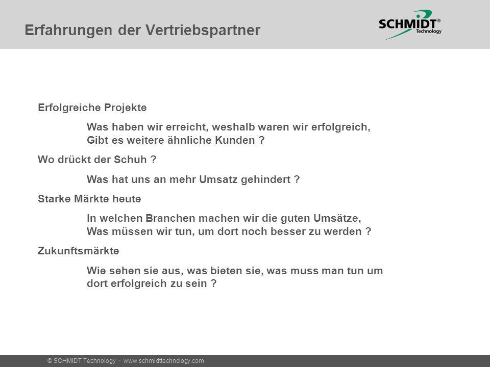 © SCHMIDT Technology · www.schmidttechnology.com Erfolgreiche Anwendungen Anwendung Branche Sensor Bedarf Vorteil SCHMIDT Sensor Vertretung Ziegler Vertretung