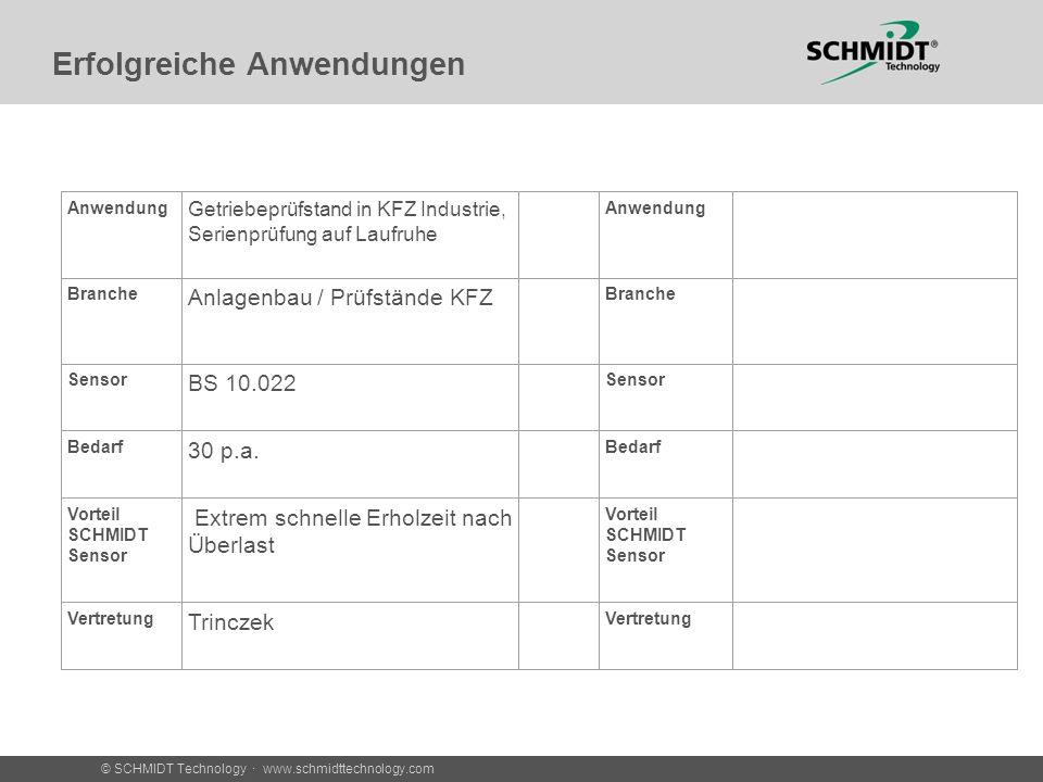 © SCHMIDT Technology · www.schmidttechnology.com Erfolgreiche Anwendungen Anwendung Getriebeprüfstand in KFZ Industrie, Serienprüfung auf Laufruhe Anw
