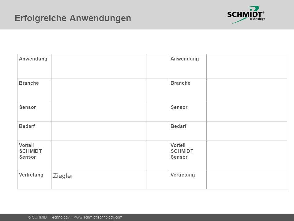 © SCHMIDT Technology · www.schmidttechnology.com Erfolgreiche Anwendungen Anwendung Branche Sensor Bedarf Vorteil SCHMIDT Sensor Vertretung Ziegler Ve