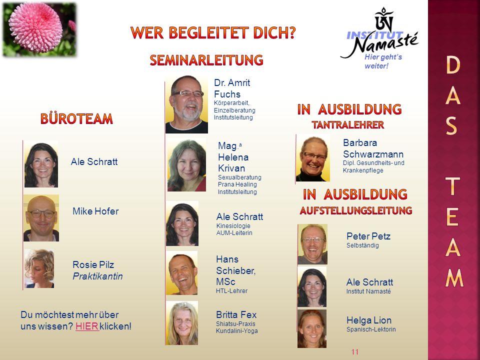 11 Ale Schratt Dr.Amrit Fuchs Körperarbeit, Einzelberatung Institutsleitung Mike Hofer Mag.