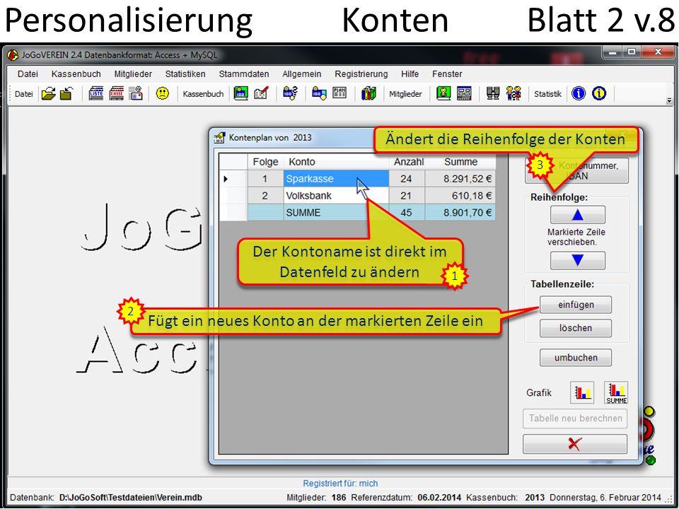 Personalisierung Konten Blatt 2 v.8 Der Kontoname ist direkt im Datenfeld zu ändern Fügt ein neues Konto an der markierten Zeile ein 1 2 Ändert die Re