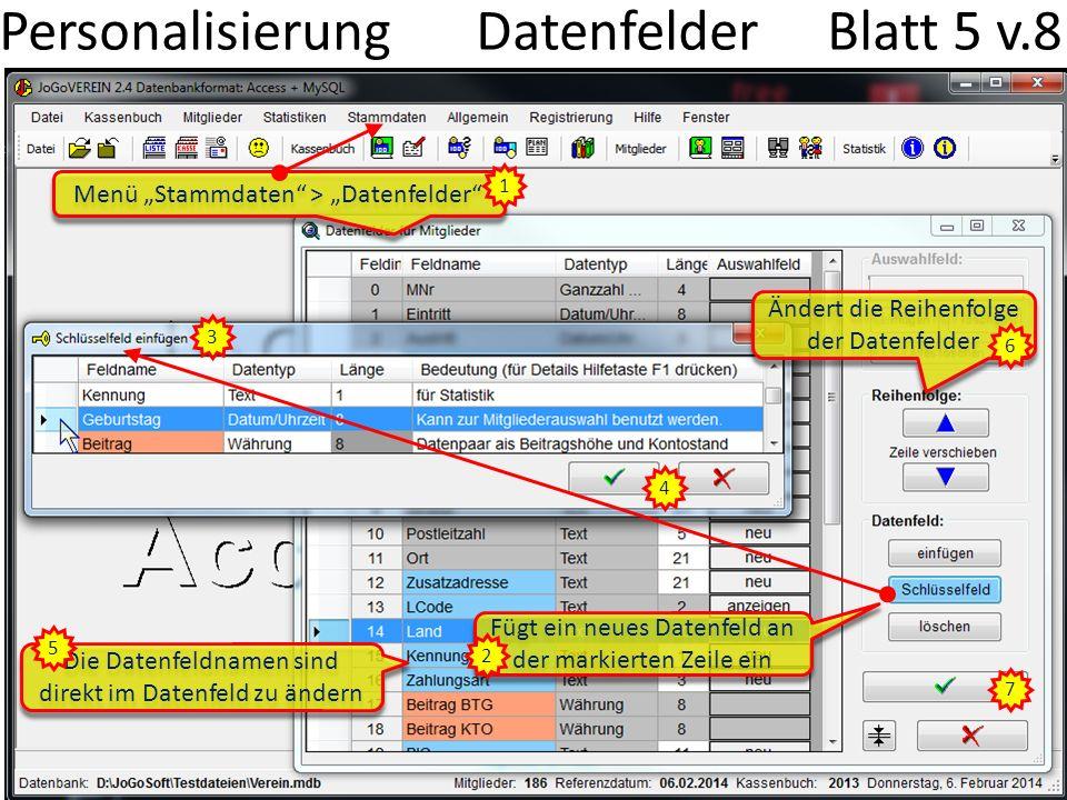 Personalisierung Datenfelder Blatt 5 v.8 Die Datenfeldnamen sind direkt im Datenfeld zu ändern 4 Fügt ein neues Datenfeld an der markierten Zeile ein