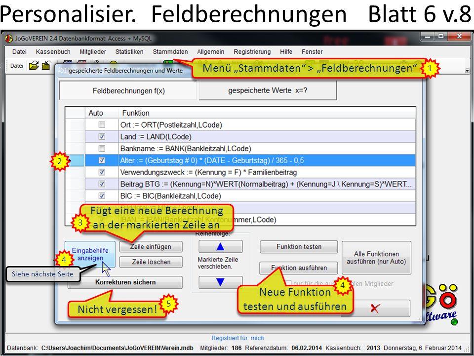 Personalisier. Feldberechnungen Blatt 6 v.8 Menü Stammdaten > Feldberechnungen 1 Fügt eine neue Berechnung an der markierten Zeile an 2 3 4 Neue Funkt