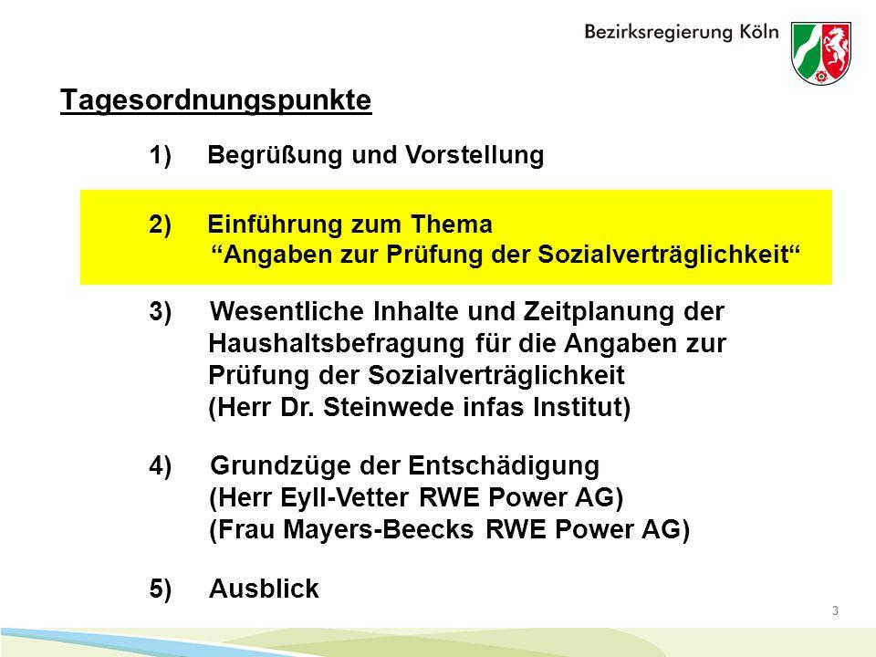3 Tagesordnungspunkte 1) Begrüßung und Vorstellung 4) Grundzüge der Entschädigung (Herr Eyll-Vetter RWE Power AG) (Frau Mayers-Beecks RWE Power AG) 5) Ausblick 2) Einführung zum Thema Angaben zur Prüfung der Sozialverträglichkeit 3) Wesentliche Inhalte und Zeitplanung der Haushaltsbefragung für die Angaben zur Prüfung der Sozialverträglichkeit (Herr Dr.
