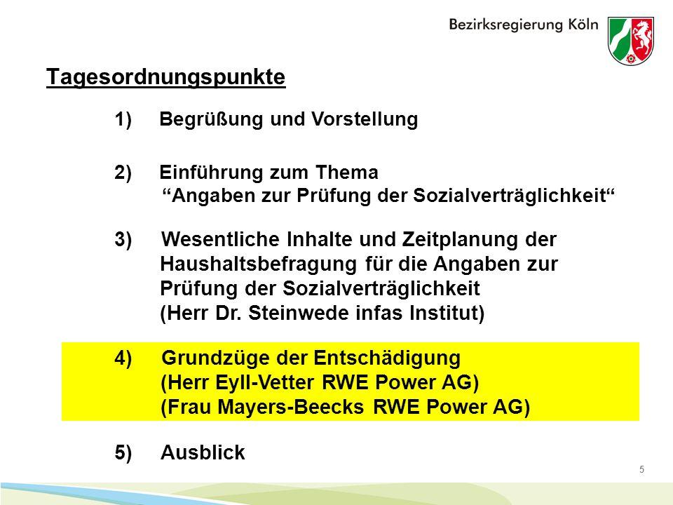 5 Tagesordnungspunkte 1) Begrüßung und Vorstellung 4) Grundzüge der Entschädigung (Herr Eyll-Vetter RWE Power AG) (Frau Mayers-Beecks RWE Power AG) 5) Ausblick 2) Einführung zum Thema Angaben zur Prüfung der Sozialverträglichkeit 3) Wesentliche Inhalte und Zeitplanung der Haushaltsbefragung für die Angaben zur Prüfung der Sozialverträglichkeit (Herr Dr.
