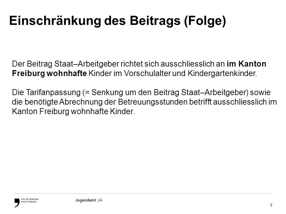 5 Jugendamt JA Der Beitrag Staat–Arbeitgeber richtet sich ausschliesslich an im Kanton Freiburg wohnhafte Kinder im Vorschulalter und Kindergartenkinder.