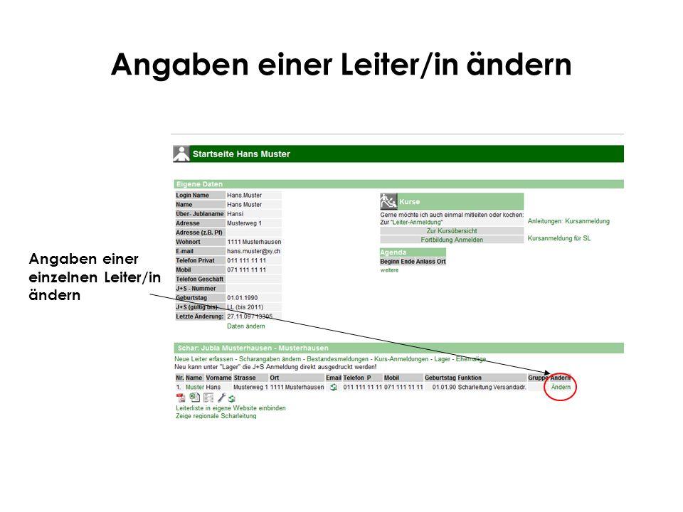 Angaben einer Leiter/in ändern Angaben einer einzelnen Leiter/in ändern