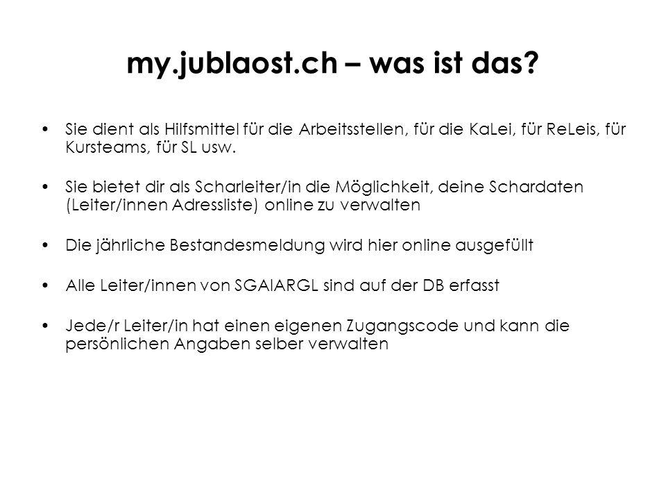 my.jublaost.ch – was ist das? Sie dient als Hilfsmittel für die Arbeitsstellen, für die KaLei, für ReLeis, für Kursteams, für SL usw. Sie bietet dir a