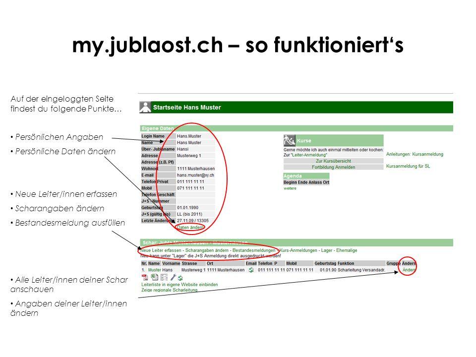 my.jublaost.ch – so funktionierts Auf der eingeloggten Seite findest du folgende Punkte… Persönlichen Angaben Persönliche Daten ändern Neue Leiter/inn