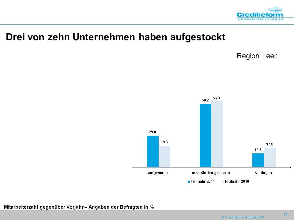 © Creditreform Gruppe 2009 12 Drei von zehn Unternehmen haben aufgestockt Region Leer Mitarbeiterzahl gegenüber Vorjahr – Angaben der Befragten in %
