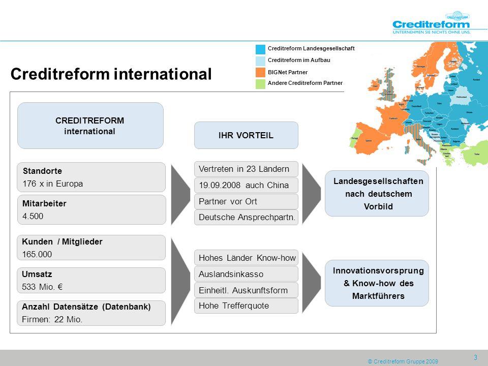 © Creditreform Gruppe 2009 3 Creditreform international Standorte 176 x in Europa Kunden / Mitglieder 165.000 Umsatz 533 Mio.
