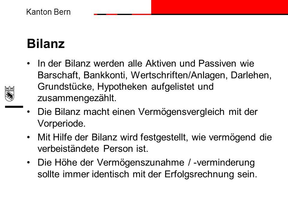 Kanton Bern Bilanz In der Bilanz werden alle Aktiven und Passiven wie Barschaft, Bankkonti, Wertschriften/Anlagen, Darlehen, Grundstücke, Hypotheken a