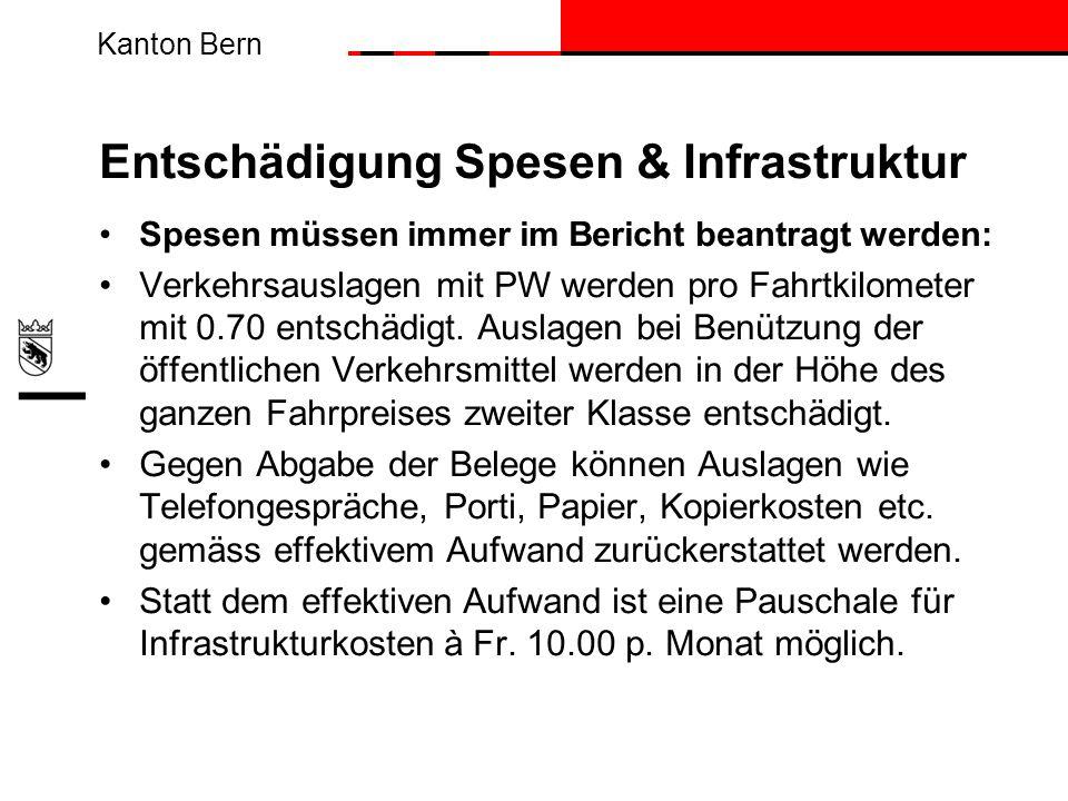 Kanton Bern Entschädigung Spesen & Infrastruktur Spesen müssen immer im Bericht beantragt werden: Verkehrsauslagen mit PW werden pro Fahrtkilometer mi