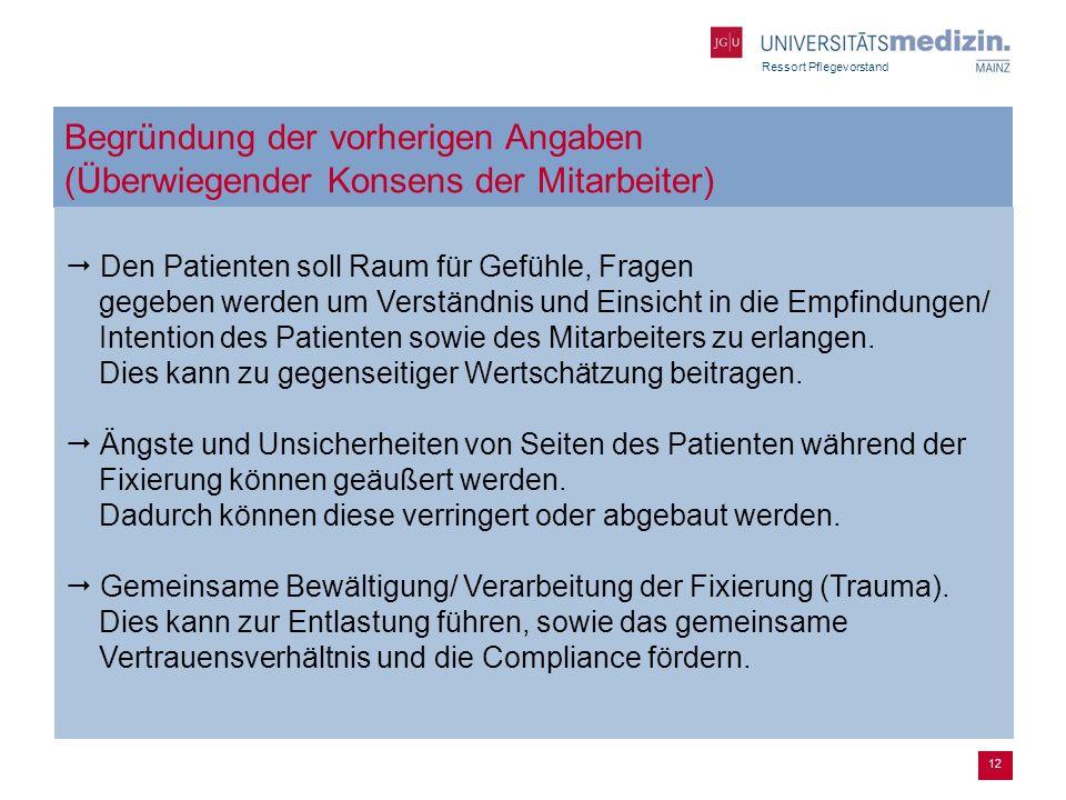 Ressort Pflegevorstand 12 Begründung der vorherigen Angaben (Überwiegender Konsens der Mitarbeiter) Den Patienten soll Raum für Gefühle, Fragen gegebe