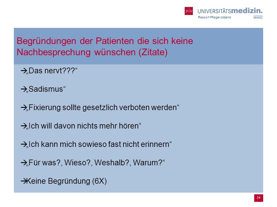 Ressort Pflegevorstand 24 Begründungen der Patienten die sich keine Nachbesprechung wünschen (Zitate) Das nervt??.